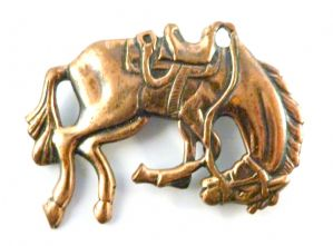 Vintage Copper Bucking Bronco Style Horse Brooch.